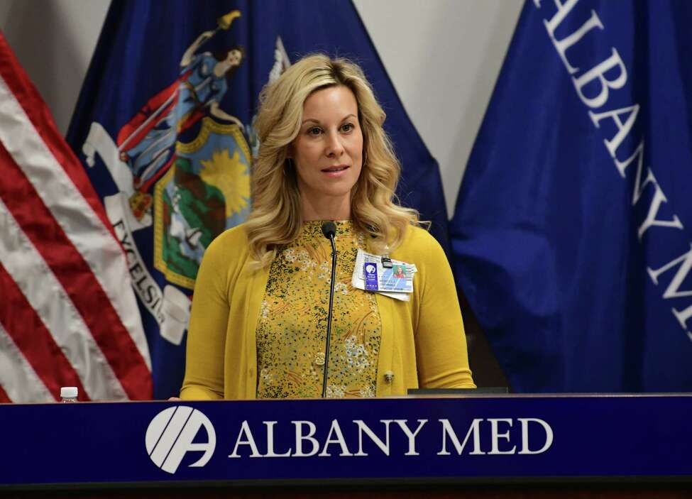 Rebecca O'Donnell, director of epidemiology at Albany Medical Center, talks about how the hospital is trying to control the coronavirus during a press conference at Albany Medical Center on Wednesday, March 18, 2020 in Albany, N.Y. (Lori Van Buren/Times Union)
