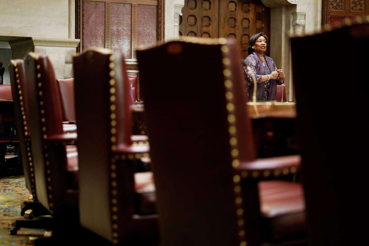 Senate Majority Leader Andrea Stewart-Cousins speaks on the floor of a mostly empty Senate chamber during session on Wednesday, March 18, 2020, in Albany, N.Y. (Paul Buckowski/Times Union)