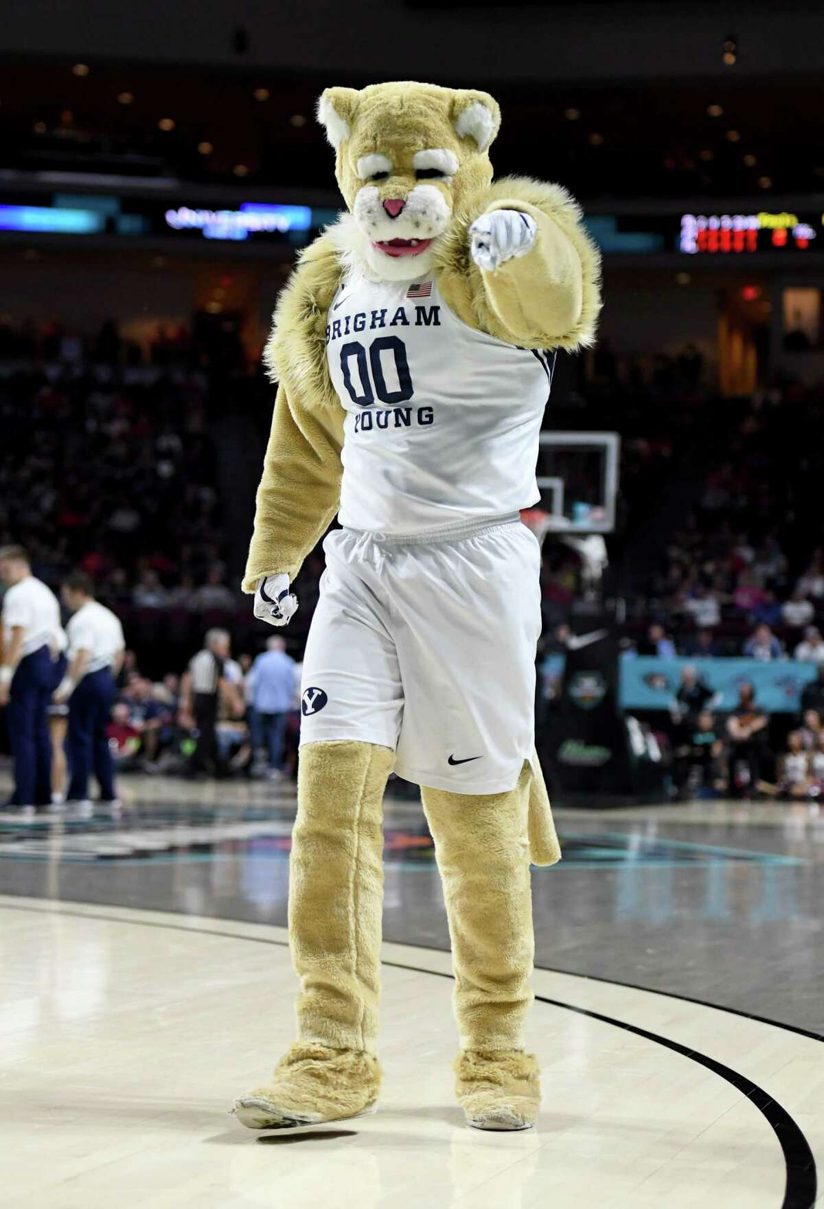 LAS VEGAS, NEVADA - MARCH 09: The Brigham Young Cougars mascot Cosmo the Cougar performs during the team's game against the Saint Mary's Gaels during the West Coast Conference basketball tournament semifinals at the Orleans Arena on March 9, 2020 in Las Vegas, Nevada. The Gaels defeated the Cougars 51-50.