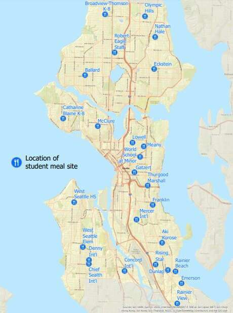 More than 25 public schools are offering free lunches to-go, as shown in the map above. Photo: Courtesy Seattle Public Schools