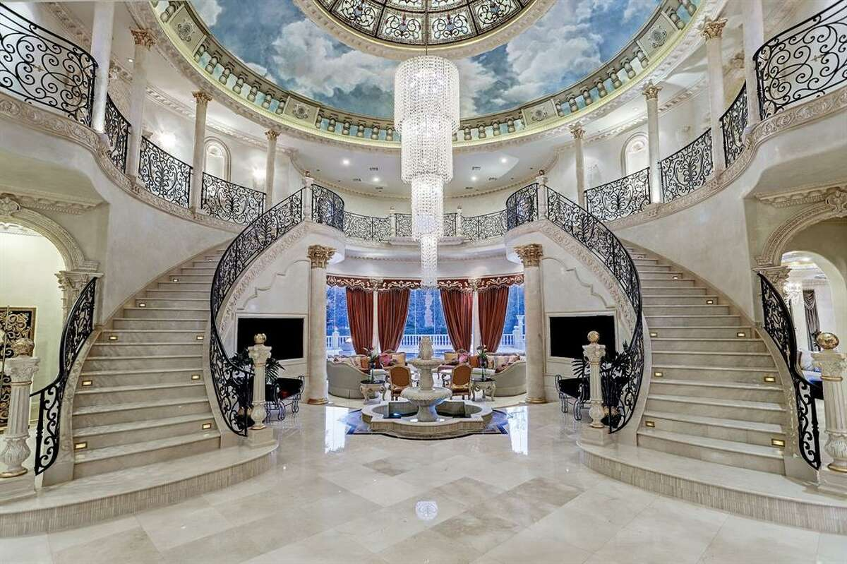 The double-staircase foyer...