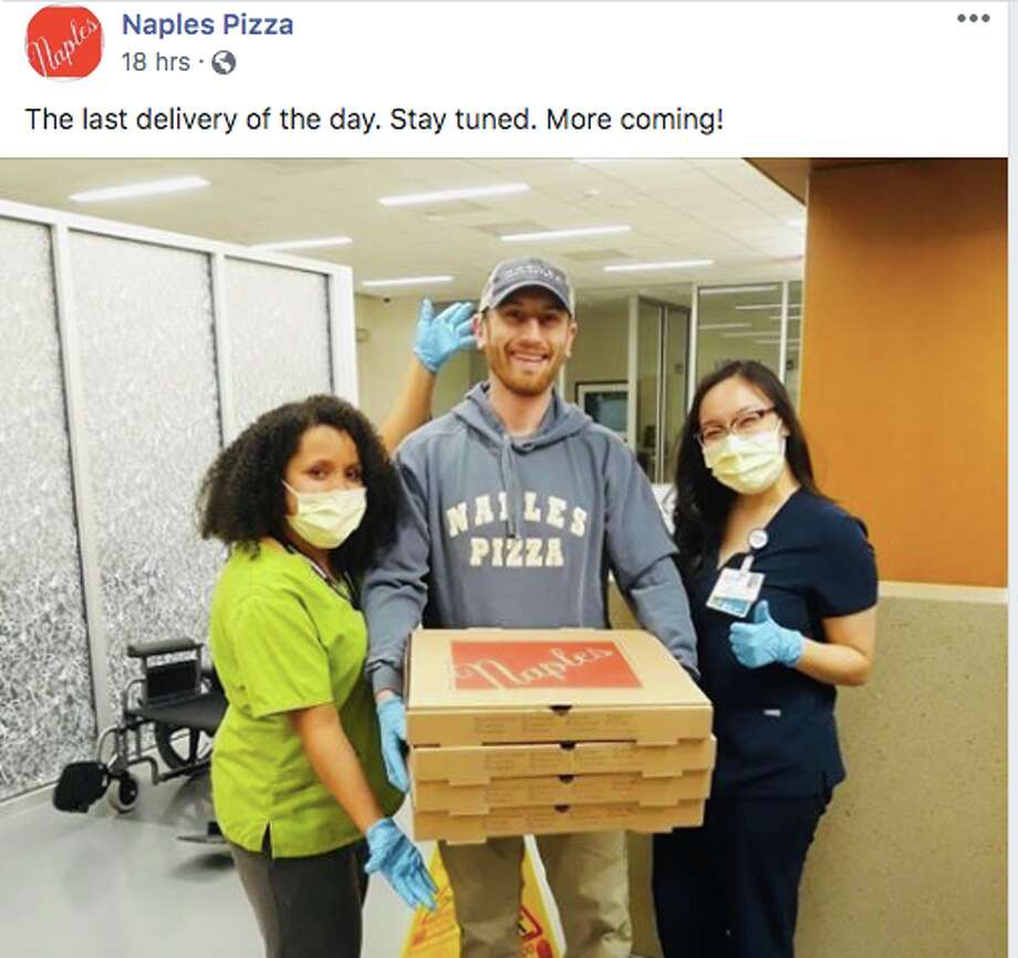 Kurt Kruczek, the owner and operator of Naples Pizza, has been delivering pizzas to hospital staff at UConn Health in Farmington. Photo: Facebook/Naples Pizza
