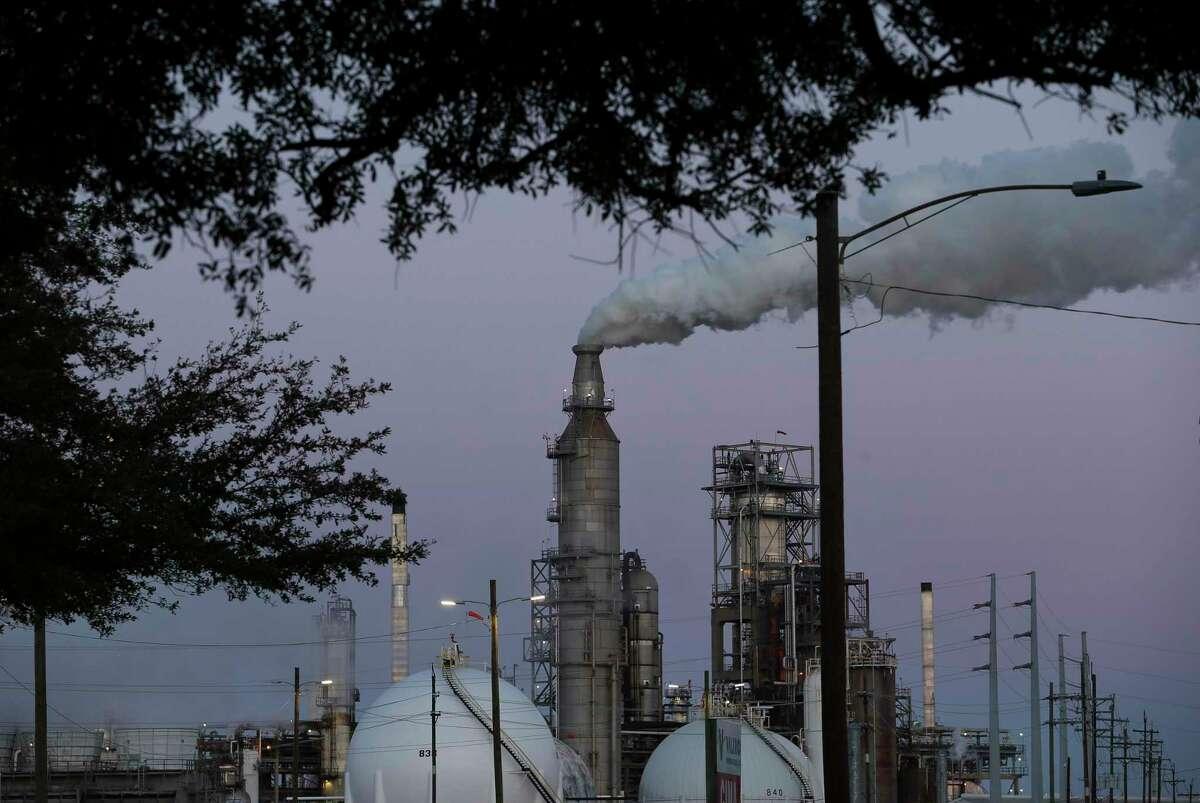 A Valero refinery plant seen from Houston's Manchester neighborhood on Thursday, Nov. 9, 2017, in Houston.