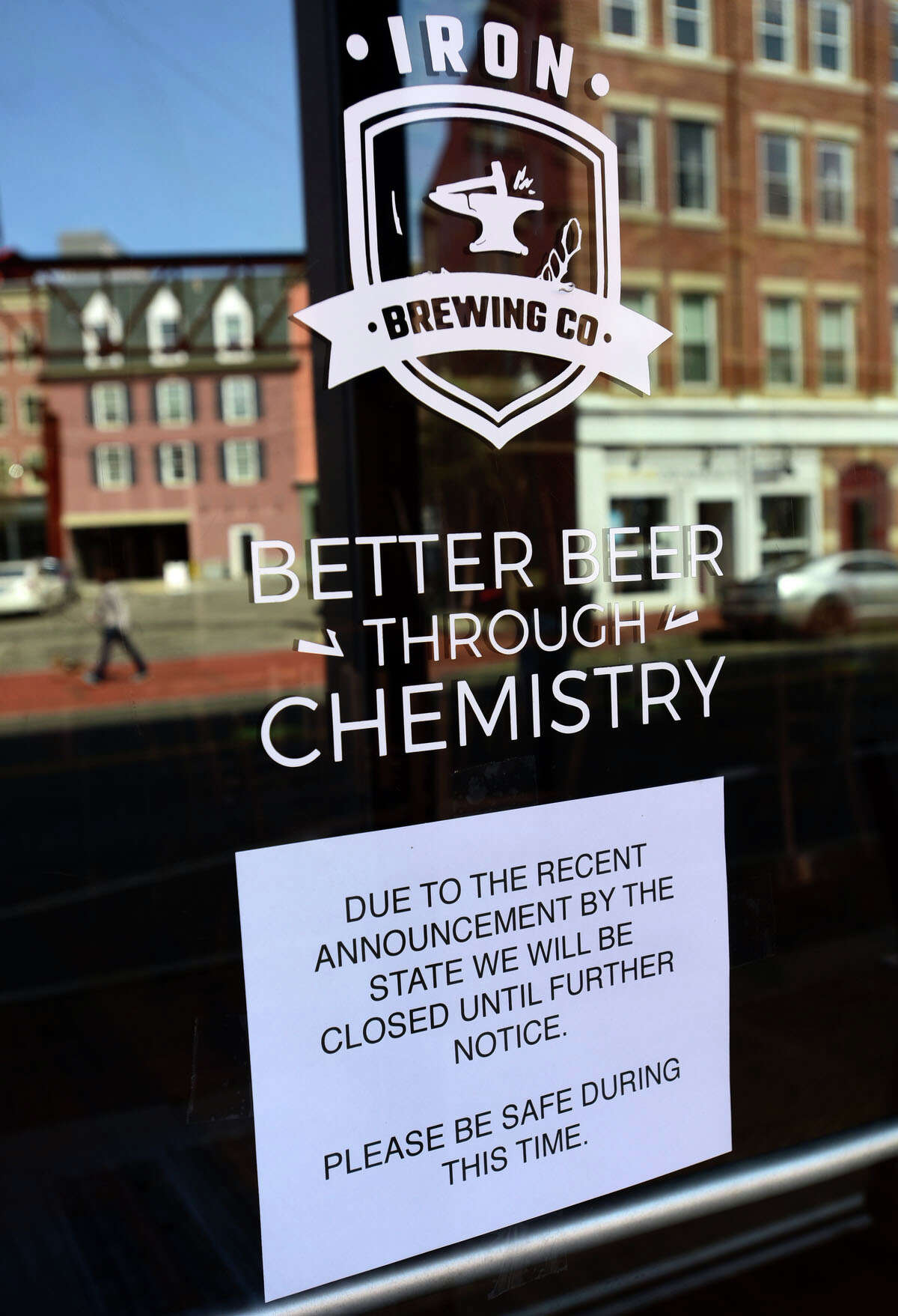 Restaurants along Washington Street including Iron Brewing post signs for closings or reduced service due to Corona Virus outbreak. Additionally, SoNo Brewing Company is aiming at opening its first taproom in South Norwalk in 2021.