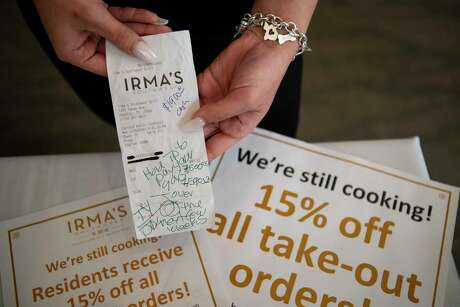 An anonymous couple left a tip totaling thousands of dollars for staff at Irma's Southwest earlier this week in response to the restaurant's coronavirus-related slowdown, Wednesday, March 18, 2020, in downtown Houston.