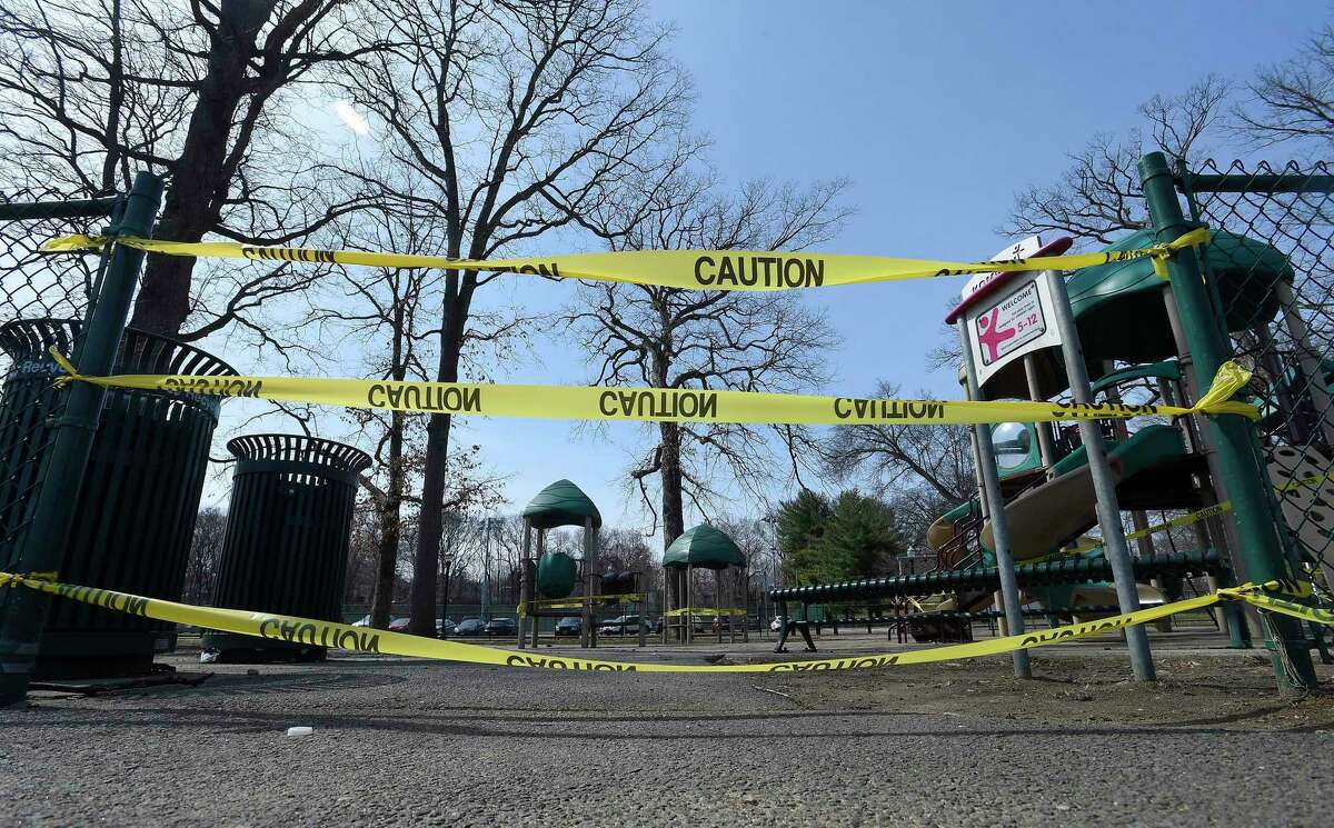 Caution tape blocks the entrance to the playground at Scalzi Park on March 18, 2020 in Stamford, Connecticut. In response to the on going COVID-19 crisis, all playgrounds in Stamford are closed to the public, in an effort to slow the spread of the coronavirus in public spaces.
