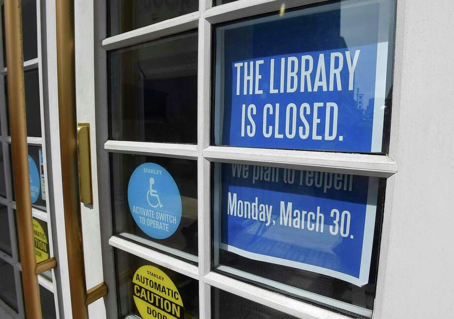 The Ferguson Library is closed on March 18, 2020 in Stamford, Connecticut. The library will remain closed for the next several weeks in response to the on going COVID-19 Pandemic. Photo: Matthew Brown / Hearst Connecticut Media / Stamford Advocate