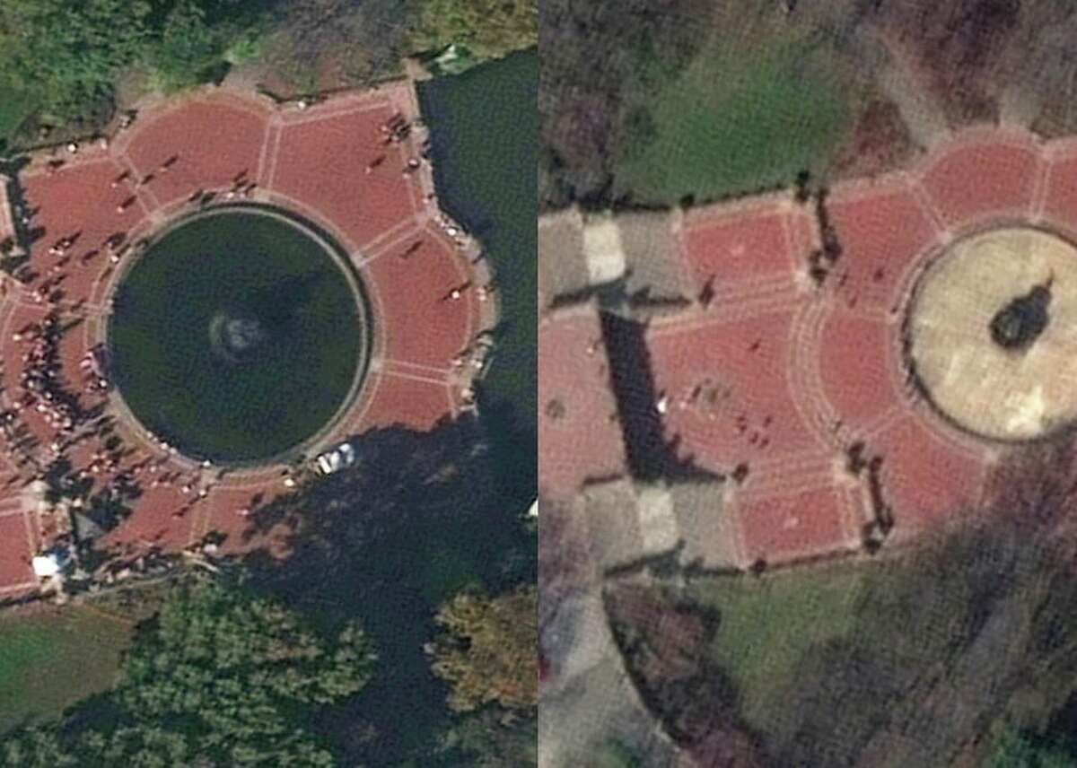 No one's hanging out in New York's iconic Central Park, if this before-and-after satellite image from Maxar Technologies is any indication. The first image was taken on Nov. 4, 2019, the second on March 11, 2020.