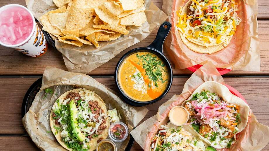 Some Torchy's Tacos items, including the Democrat (bottom left). Photo: Torchy's Tacos / Torchy's Tacos