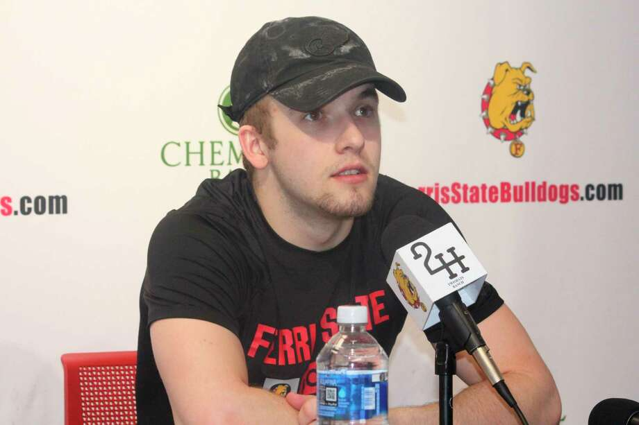 Cade Kowalski answers questions during a Ferris hockey press conference toward the end of the season. (Pioneer photo/John Raffel)