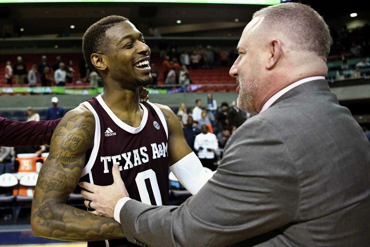 Jay Jay Chandler and A&M coach Buzz Williams, celebrating a win over Auburn, expect to have more good times next season.