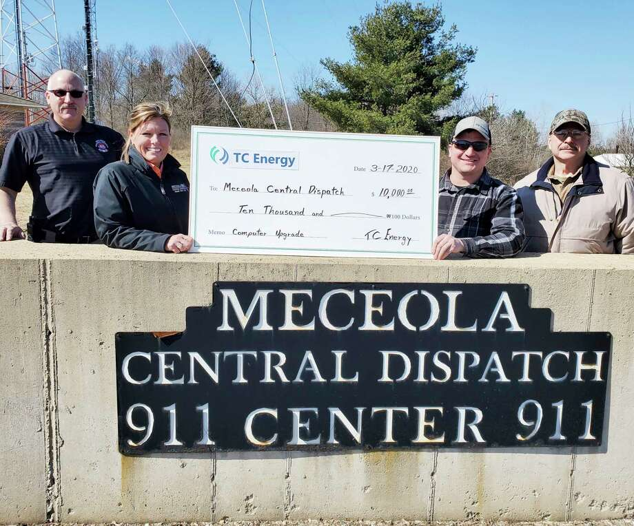TC Energy representatives Larry London and Matt Schneider presented a check to Director Megan Erickson and Deputy Jack Boden, of Meceola Consolidated Central Dispatch Authority, for $10,000.00. This was a result of a grant applied for by the Meceola Central Dispatch, to update computers and operating systems for our 911 dispatch operations. (Submitted photo)