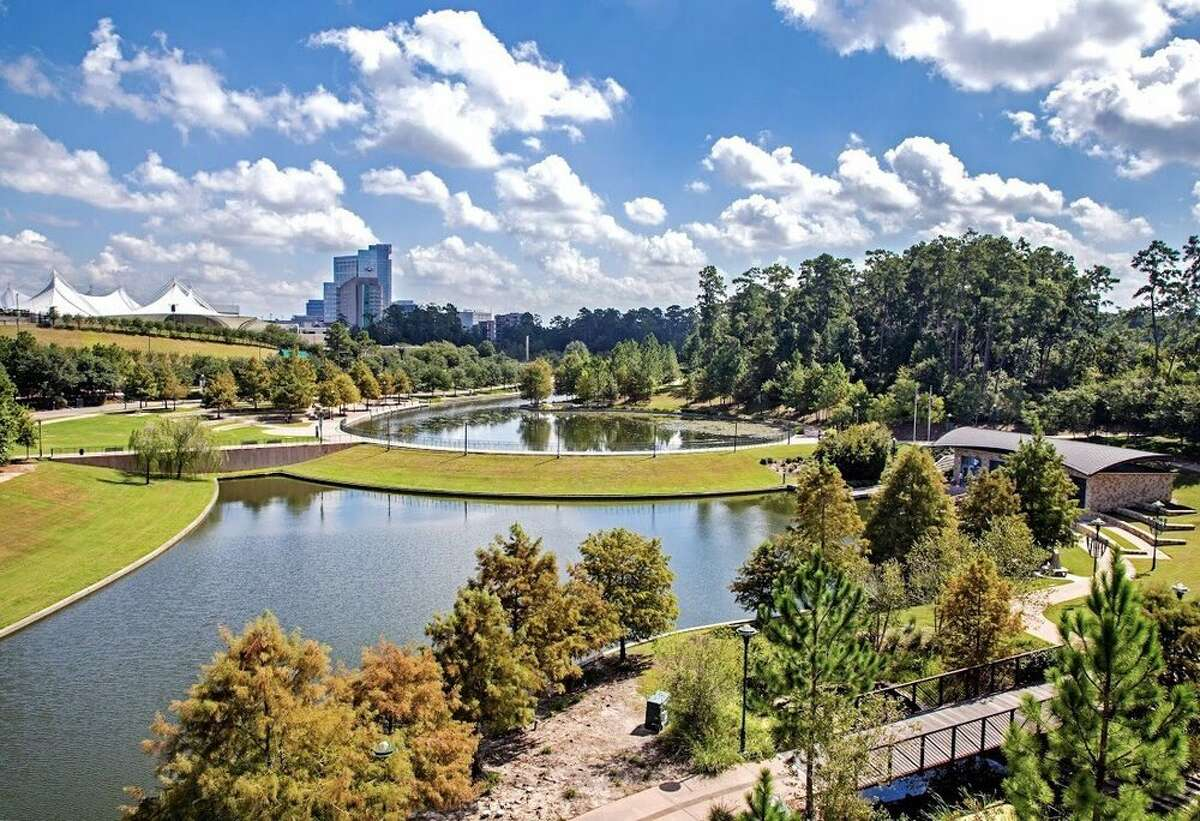 The Woodlands, TX Located just outside of dowtown Houston, The Woodlands offers residents beautiful outdoor sceneries with mature trees and access to great shopping and dining. Photo: Yelp/Luke G.