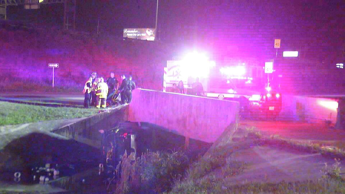 A local man was hospitalized Thursday morning after driving his car into a ditch near 281 and Bitters.