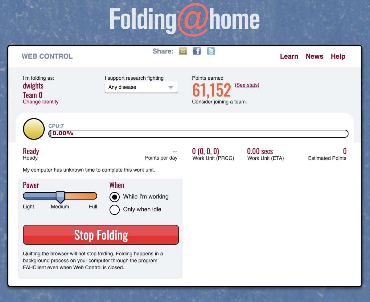 The Folding@Home client runs in the background on your Windows, Mac or Linux computer, running simulations that could help find a cure or vaccine for COVID-19.