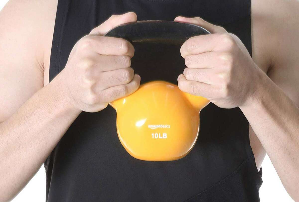 AmazonBasics Vinyl Coated Cast Iron Kettlebell, Beginning at $15.49