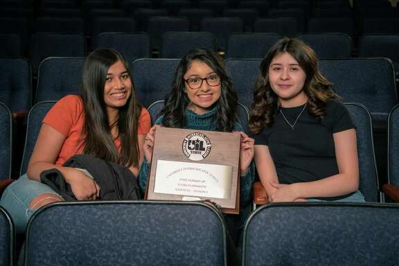 Deer Park High School students Maci Thomas, Julie Perez and Mandi Chapa are thrilled to have worked on a film that won state runner-up recognition from the University Interscholastic League for narrative filmmaking.