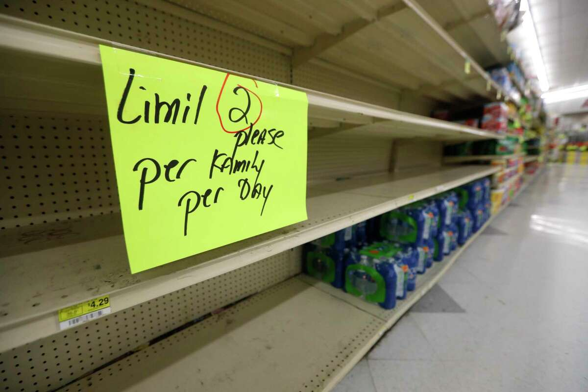 The water section at Food Town is seen, Wednesday, March 18, 2020, in New Caney. The grocery store established an elderly-only hour for shoppers 65-years or older from 7 a.m. to 8 a.m.