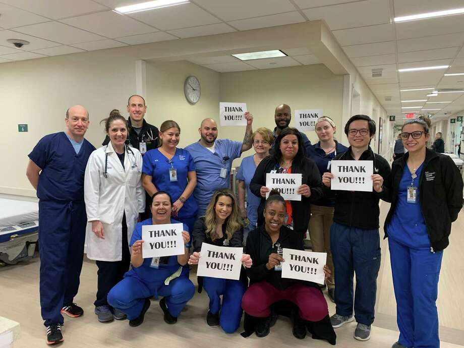 Greenwich Hospital Emergency Department staff expressed their gratitude for the acts of kindness from the community they serve. Photo: Contributed