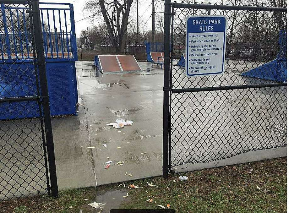 This was the scene the morning after a 21-year-old Danbury man died after he was stabbed multiple times during a fight at the Danbury City Center Skate Park on Wednesday, March 18, 2020. Photo: Peter Yankowski / Hearst Connecticut Media