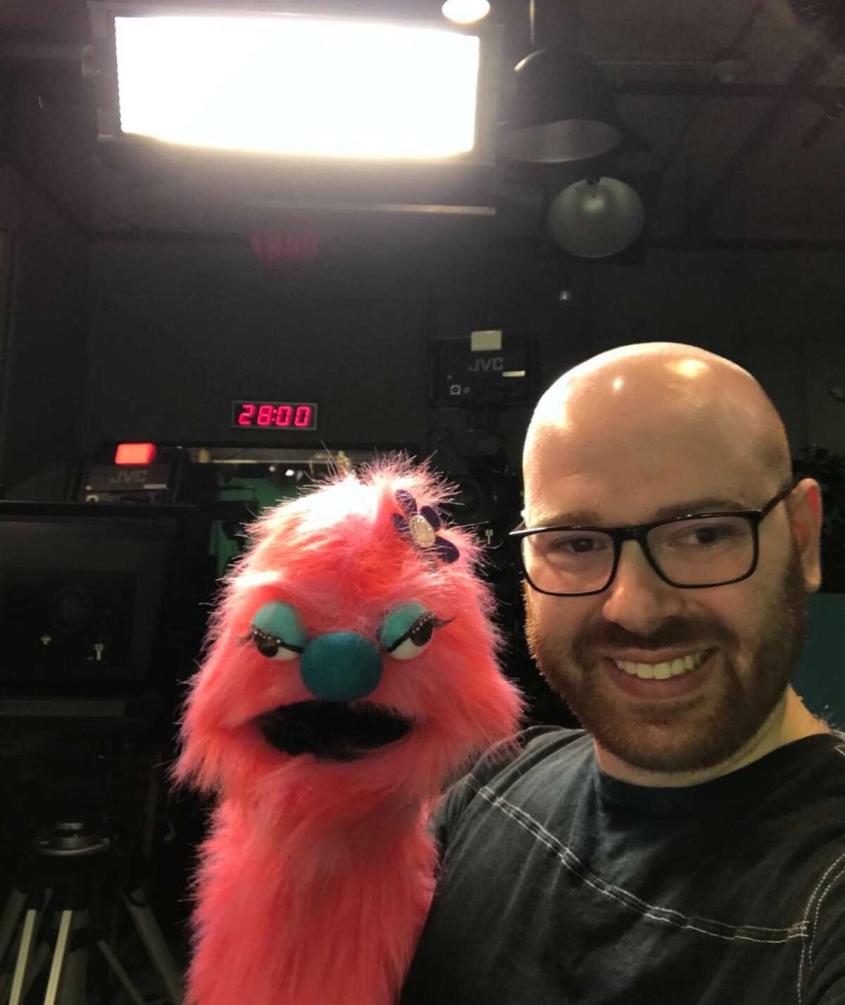 Spencer Cohen and another one of his puppets.
