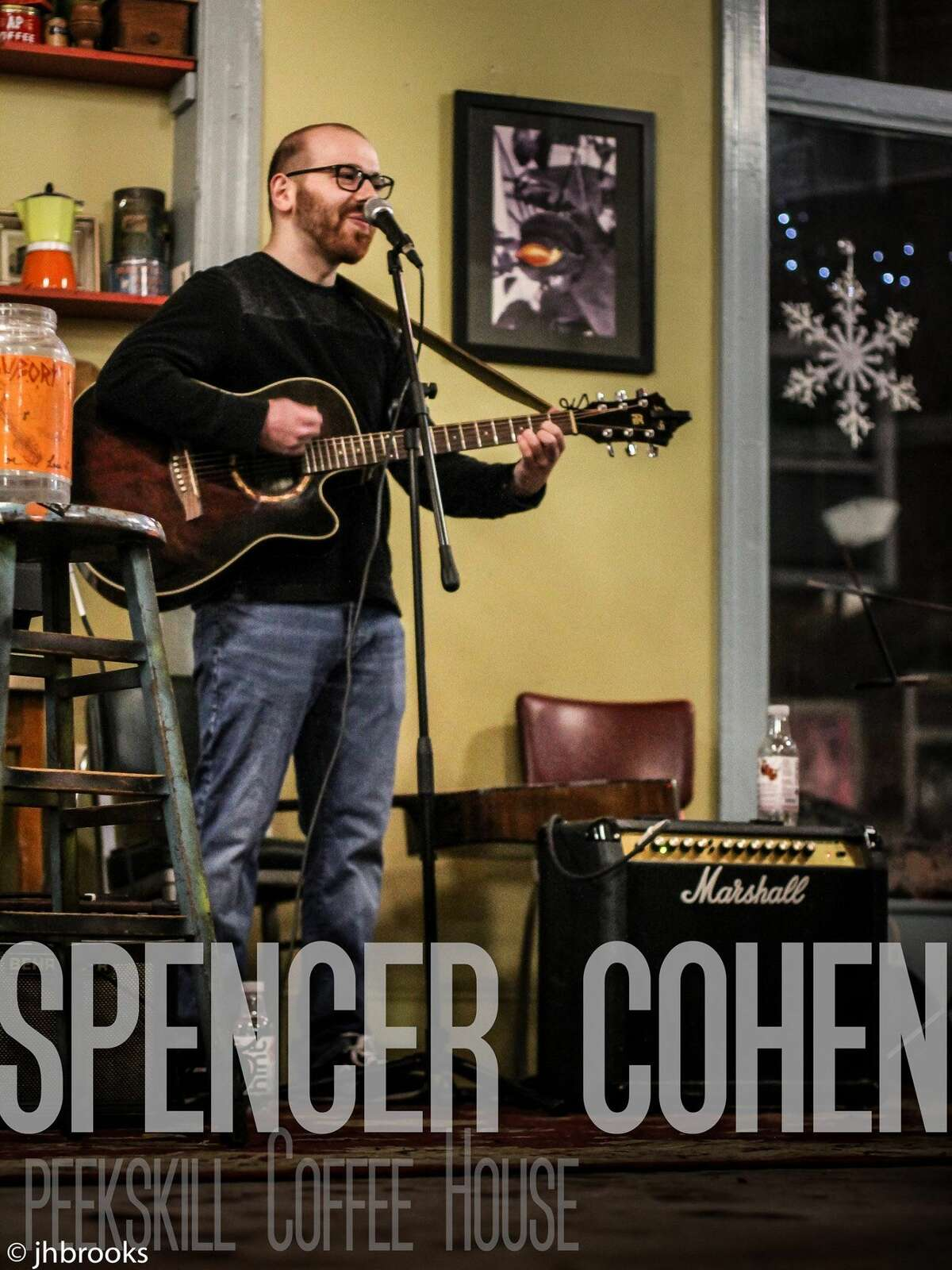 Spencer Cohen singing at thePeekskillCoffee House.