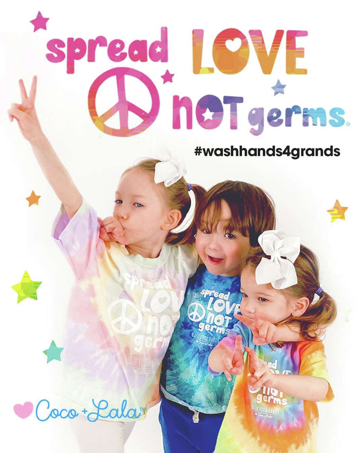 Six-year-old Leontine Doherty and her brother 4-year old Colton Doherty (with little sister Peachie) have created tie dye t-shirts to inspire us to: Spread Love Not Germs -wash your hands to help grandparents and loved ones stay safe.