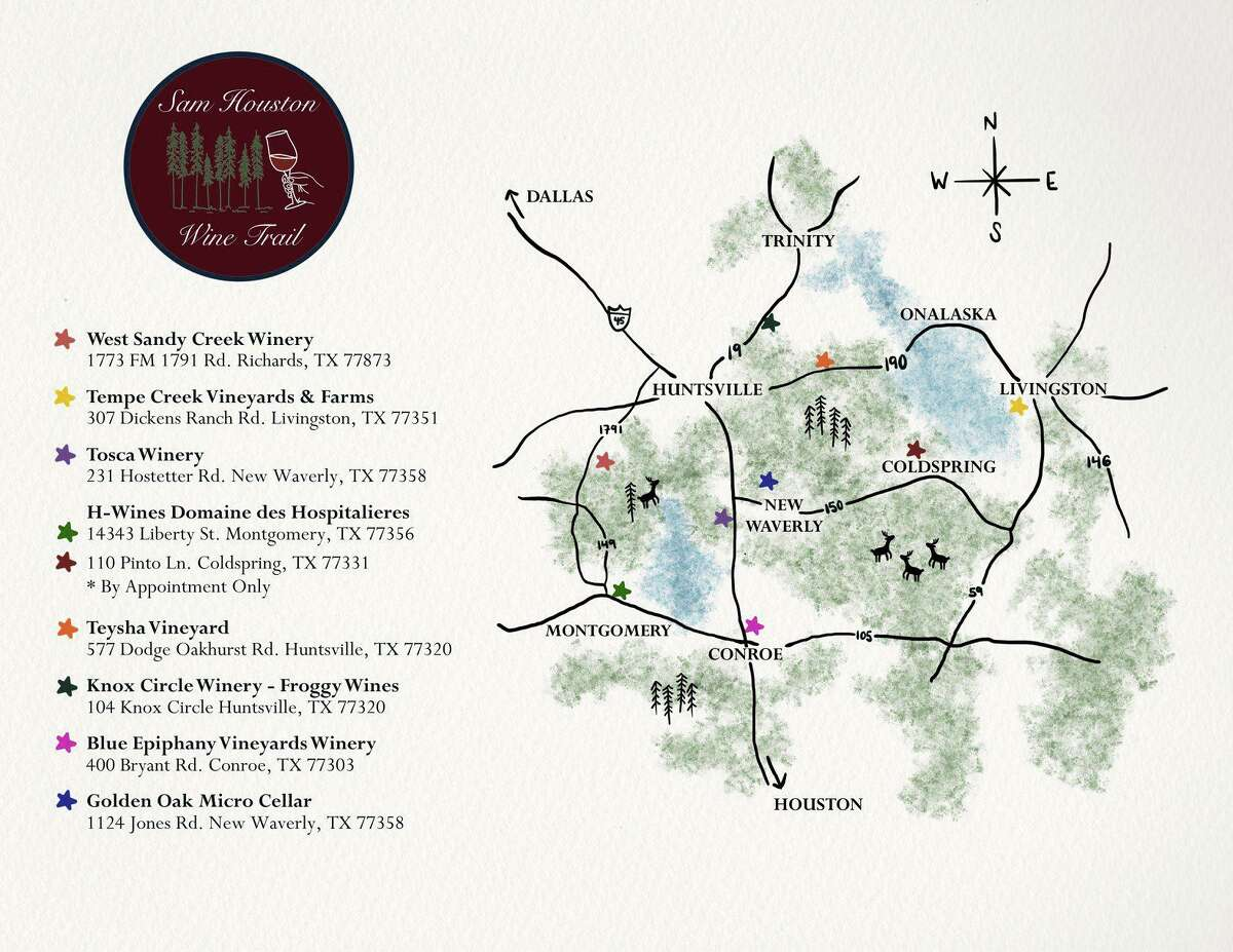 A new wine trail has just formed consisting of eight wineries to the north of Houston called the Sam Houston Wine Trail. I guess it is called that because the general area where the wineries are located is where that famous Texas Hero Sam Houston lived most of his life in Texas.