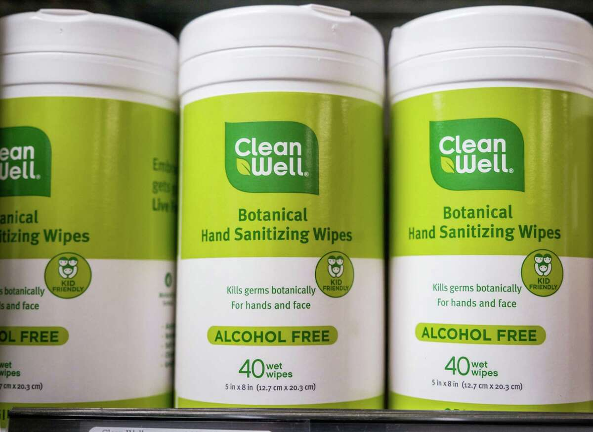 Hand sanitizing wipes are seen on the shelves at the Bi-Rite store in San Francisco, Calif. on Friday, March 6, 2020.