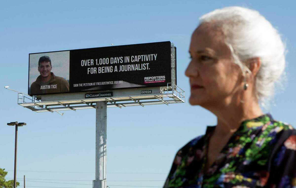 Debra Tice, mother of the journalist Austin Tice, looks on during a news conference after unveiling a billboard launching the #FreeAustinTice campaign, Wednesday, Sept. 23, 2015, in Houston. Austin's parents, with the support of Reporters Without Borders USA, launched the #FreeAustinTice campaign to raise awareness about their son's situation and to urge the US Administration to do everything possible to bring Austin safely home. (Cody Duty / Houston Chronicle)