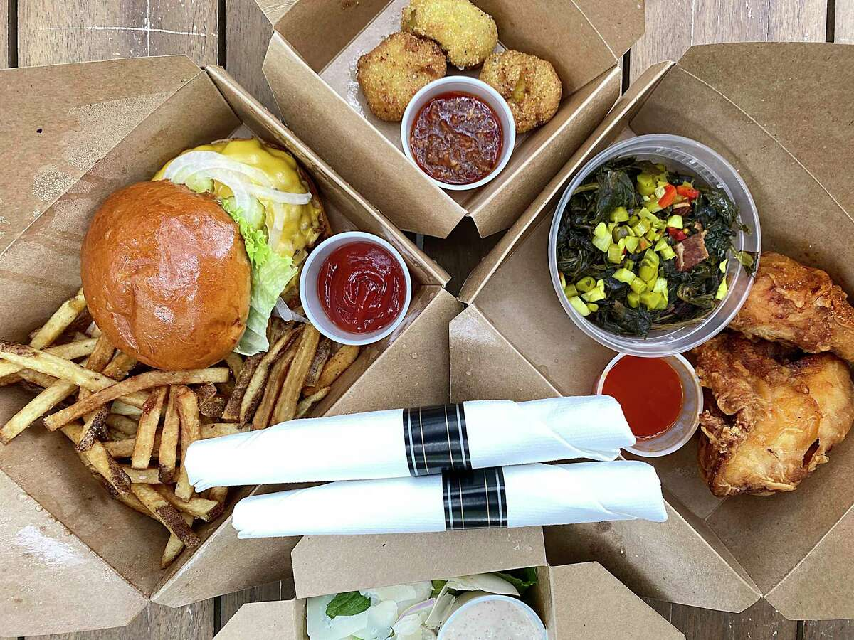 Meadow Neighborhood Eatery + Bar at The Alley on Bitters is participating in Culinaria's Restaurant Weeks To-Go. Options for lunch include, clockwise from left, a loaded cheeseburger with fries, openers like creamed corn fritters with nduja marmalade or fried chicken with braised greens.