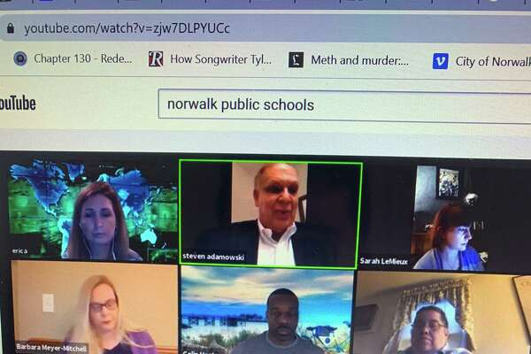 A screen shot of the Norwalk boe meeting via Zoom on March 17, 2020