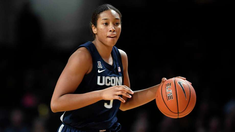 FILE - In this Nov. 13, 2019, file photo, Connecticut forward Megan Walker (3) plays against Vanderbilt during the second half of an NCAA college basketball game in Nashville, Tenn. Walker was selected to The Associated Press women's All-America first team, Thursday, March 19, 2020. (AP Photo/Mark Zaleski, File) Photo: Mark Zaleski / Associated Press / Copyright 2019 The Associated Press. All rights reserved