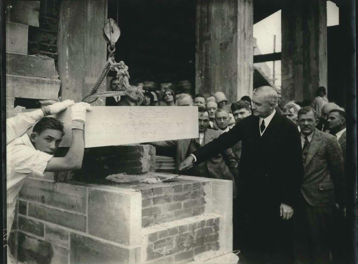 Laying of the corner stone at St. Paul's Methodist Church dedication by Jesse H. Jones, Houston, Texas.