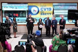 Harris County Judge Lina Hidalgo, center, speaks as Houston Mayor Sylvester Turner, Dr. Umair Shah, executive director of Harris County Public Health, and Dr. David Persse, Houston Health Department, right, listen about the first two cases of coronavirus in Harris County during media conference at Houston Transtar Thursday, March 5, 2020 in Houston. One man and one woman in the unincorporated area of northwest Harris County tested positive for COVID-19, according to county officials. Both patients, and the man in Fort Bend county that tested positive for COVID-19, had traveled together to Egypt.