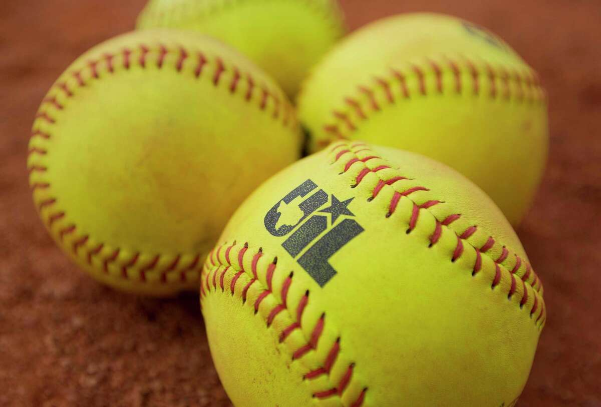A softball with the logo of the University Interscholastic League is seen before a Class 5A semifinal game during the UIL State Softball Championships at Red and Charline McCombs Field, Friday, June 2, 2017, in Austin.