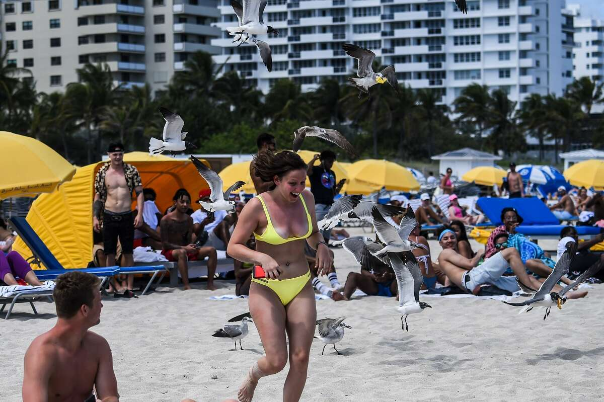 """Tourists relax on the beach in Miami Beach, Florida, on March 18, 2020. They crowded the beaches, filled discos and sweated together at dances, ignoring for days the recommendations to keep their distance. But the thousands of students vacationing in Miami Beach on Wednesday were faced with the reality: the coronavirus is """"no fun."""