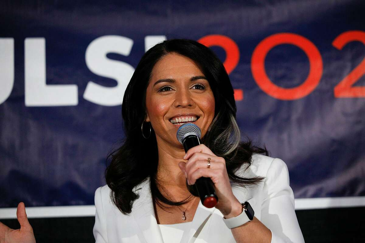 DETROIT, MI - MARCH 03: Democratic presidential candidate U.S. Representative Tulsi Gabbard (D-HI) holds a Town Hall meeting on Super Tuesday Primary night on March 3, 2020 in Detroit, Michigan. Gabbard, the first Samoan American and first Hindu elected to Congress, is one of two women left in the Democratic Primary, the other being Senator Elizabeth Warren. (Photo by Bill Pugliano/Getty Images)
