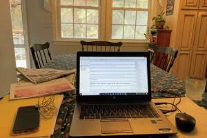 "The writer's new home ""office"" during the coronavirus pandemic."