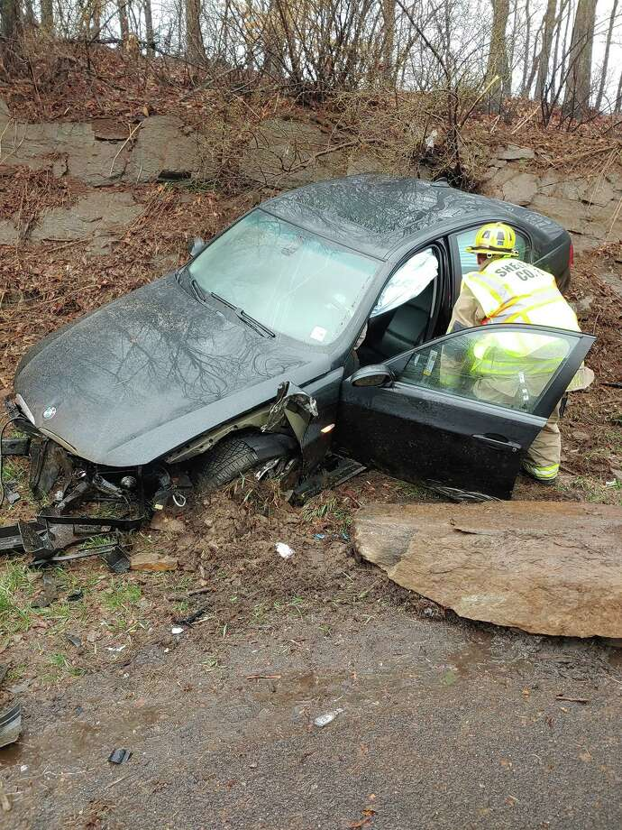 Shelton emergency crews responded to a one-vehicle accident on Route 8 near exit 12 Thursday, March 19, about 8:30 a.m. Photo: Contributed Photo / Connecticut Post
