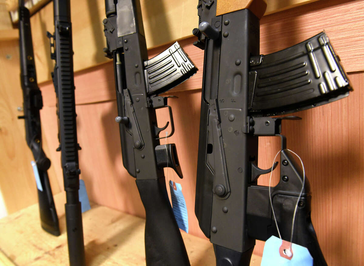 Semi-automatic rifles are seen on display at Upstate Guns & Ammo store on Thursday, March 19, 2020 in Schenectady, N.Y. (Lori Van Buren/Times Union)