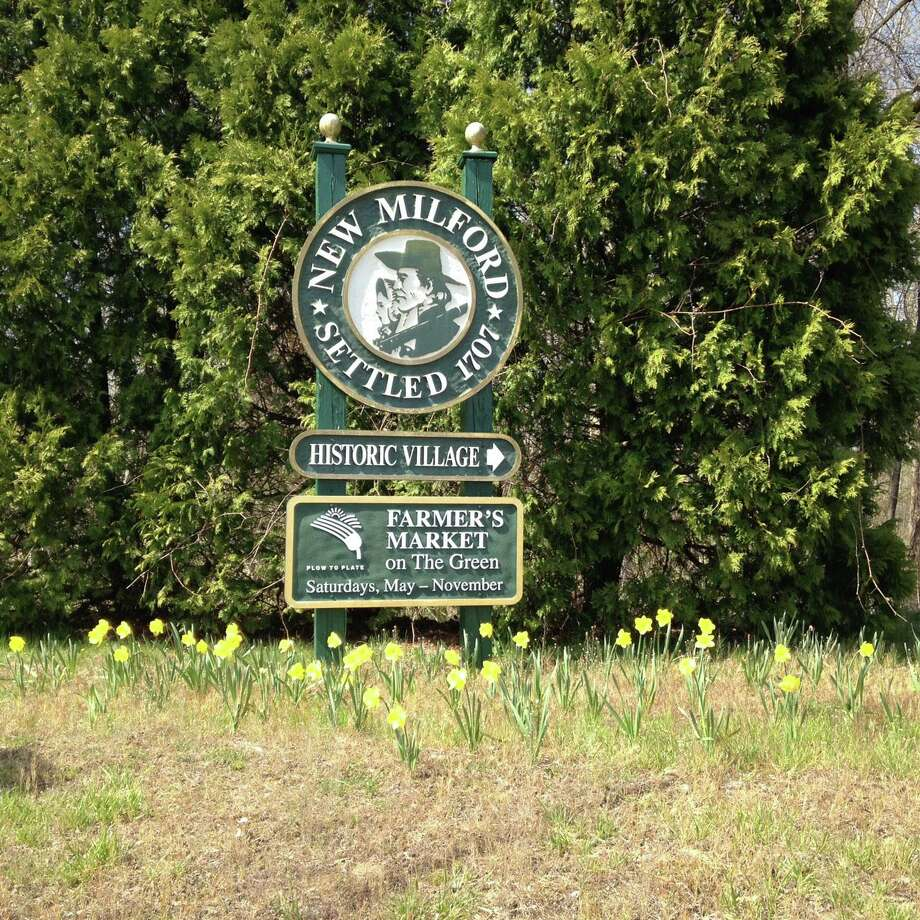 File photo of a New Milford sign. April 2016 Courtesy of Mary Schenzer Photo: Contributed Photo / Contributed Photo / The News-Times Contributed