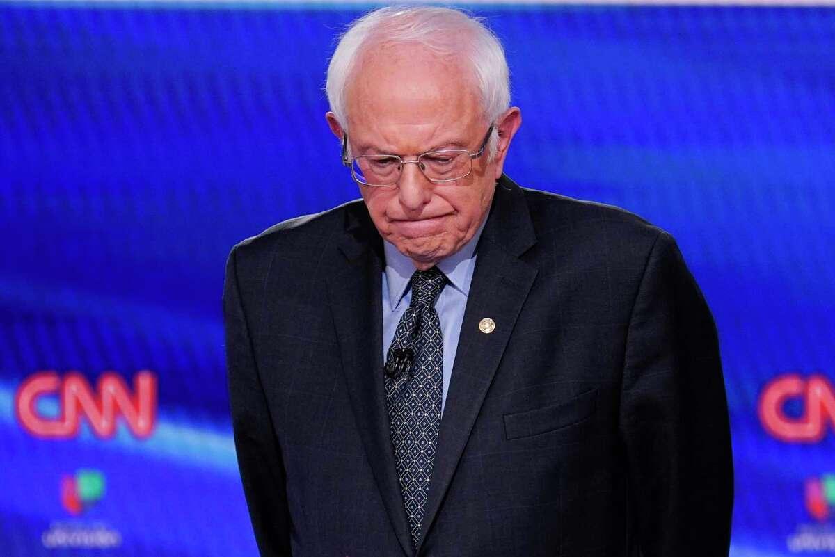 Sen. Bernie Sanders, I-Vt., participates in a Democratic presidential primary debate at CNN Studios in Washington, Sunday, March 15, 2020. (AP Photo/Evan Vucci)