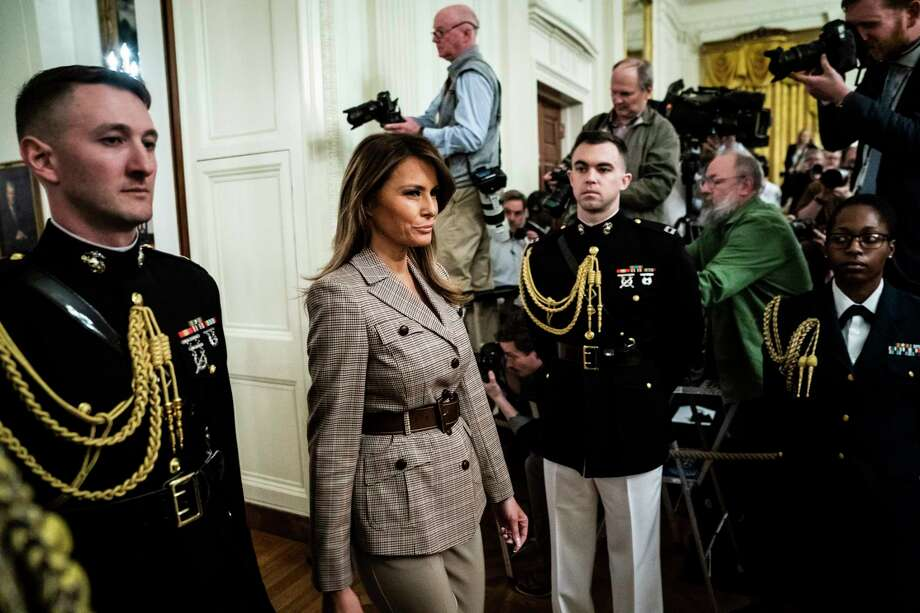 First lady Melania Trump arrives before President Donald Trump presented the Presidential Medal of Freedom to Gen. Jack Keane in the East Room of the White House on March 10. Photo: Washington Post Photo By Jabin Botsford / The Washington Post