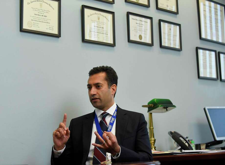 Dr. Rohit Bhalla, chief quality officer of Stamford Hospital, is interviewed in his office on Nov. 27, 2019 in Stamford. Bhalla has said the hospital is prepared for an upswing in COVID-19 cases. Photo: Matthew Brown / Hearst Connecticut Media / Stamford Advocate