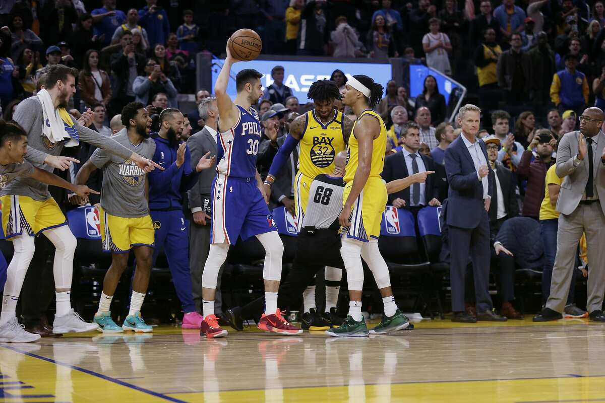 Philadelphia 76ers guard Furkan Korkmaz (30) steps out of bounds and turns possession over to the Golden State Warriors late in the fourth quarter in an NBA game at Chase Center on Saturday, March 7, 2020, in San Francisco, Calif. The Warriors won 118-114.