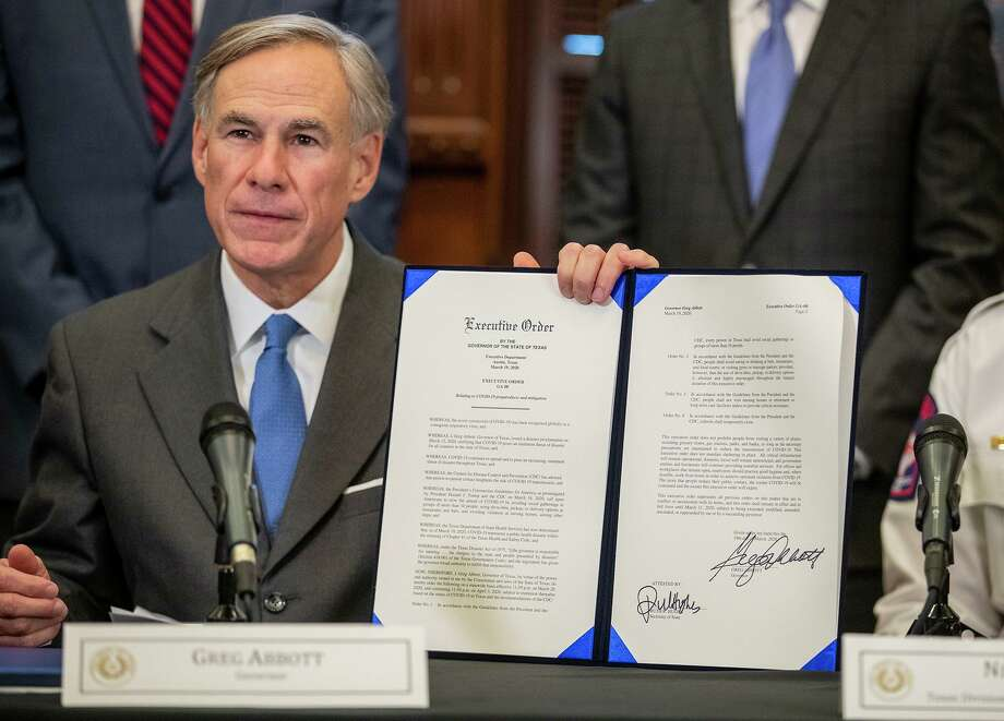 Texas Gov. Greg Abbott and top officials announce new state policies to combat the coronavirus at the governor's office press conference room on Thursday, March 19, 2020, in Austin, Texas. (Ricardo B. Brazziell/Austin American-Statesman via AP) Photo: Ricardo B. Brazziell, MBR / Associated Press / AUSTIN AMERICAN-STATESMAN