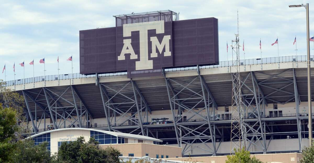 The Texas A&M Aggies logo is on display on the southeast side of the stadium prior to game against the Alabama Crimson Tide on October 12, 2019 at Kyle Field in College Station, TX. (Photo by John Rivera/Icon Sportswire via Getty Images)