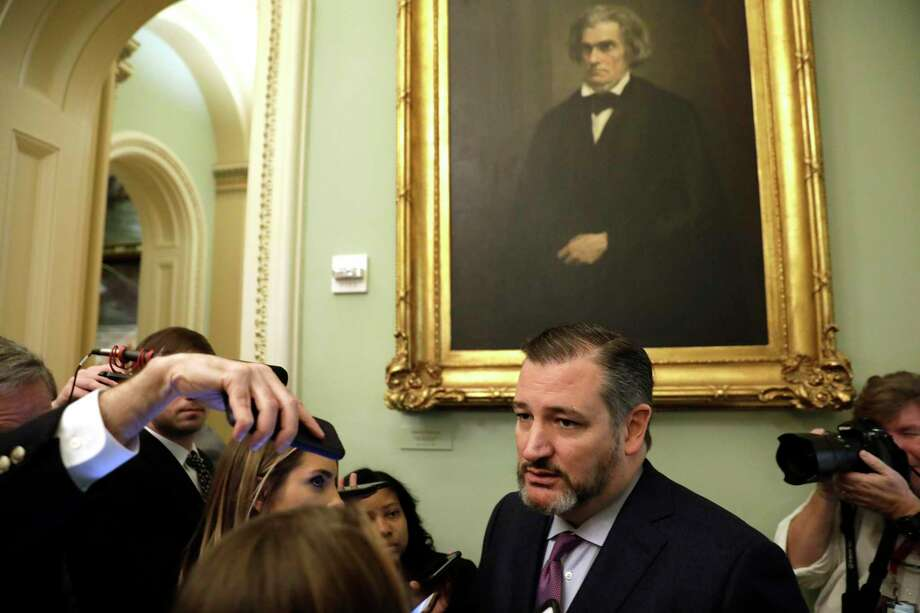 Senator Ted Cruz (R-Texas) speaks with repoters on the first day of the impeachment trial against President Donald Trump on Capitol Hill in Washington, D.C. on Jan. 21, 2020. Cruz is staying home in Texas this week as a precaution because he interacted at CPAC with the individual who later tested positive for the coronavirus. (Yuri Gripas/Abaca Press/TNS) Photo: Yuri Gripas, MBR / TNS / Abaca Press