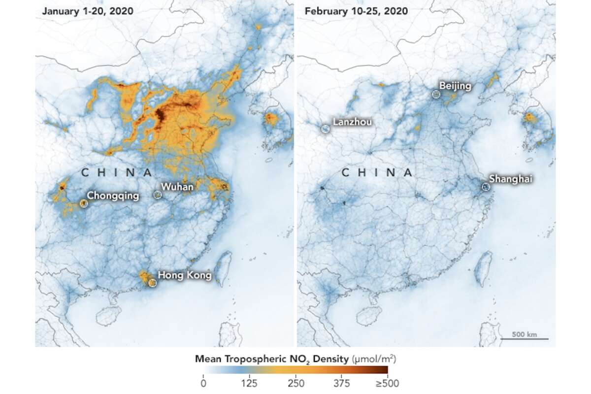 During recent quarantine measures in China, there was a direct impact on pollution levels. NASA and the European Space Agency (ESA) pollution monitoring satellites detected significant decreases in nitrogen dioxide (NO2) over China when comparing Jan. 1-20, 2020 (before quarantine) and Feb. 10-25 (during quarantine).